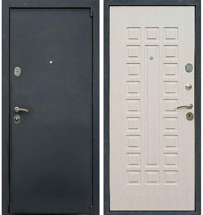 входные двери беленый дуб с двух сторон